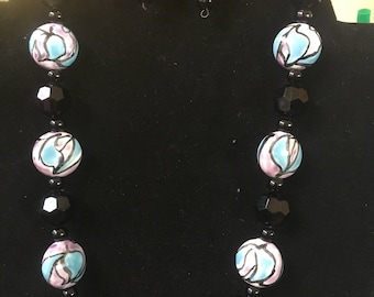 Lite blue and black necklace and earrings