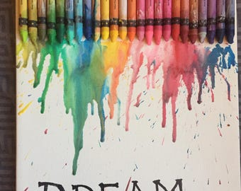DREAM - a colorful crayons illustration. Nursery decor. Baby shower gift. Birthday gift. Home decor. Wall hangings.