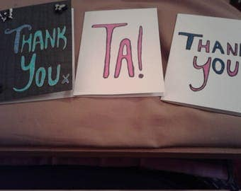 Set of Three Thank You cards