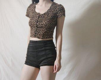 90s Cheetah Print Crop Top, Small