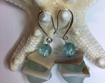 Sea Glass, mother of pearl & crystal Earrings.