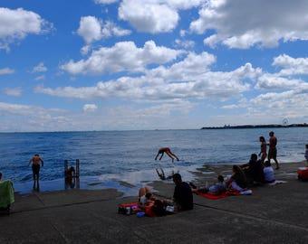 Swimmers on Lake Michigan