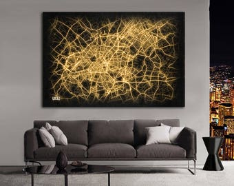 LILLE France Night Lights Map Large Horizontal Wall Art Map Lille France Modern Art Neon City Street Map of Lille NLM