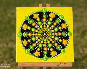 Citrus Blast Mandala Original Dot Painting acrylic on canvas board mandalaart dotartwork mandaladesign