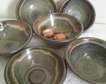 Set Of 4 Ceramic Small Bowls / Stoneware Plates / salad bowls /israel