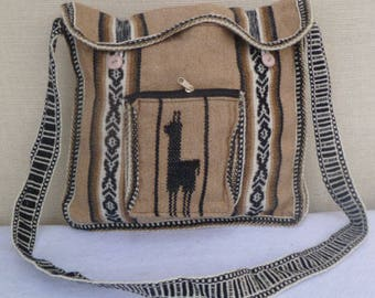 Inca style alpaca wool travel bag