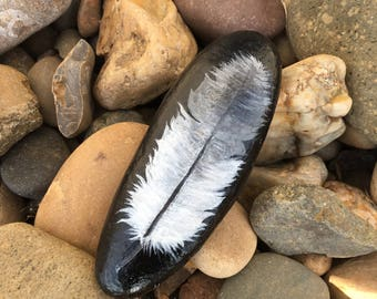 Feather painted stone, painted rock, feather, talking feather, decoration, gift, unique