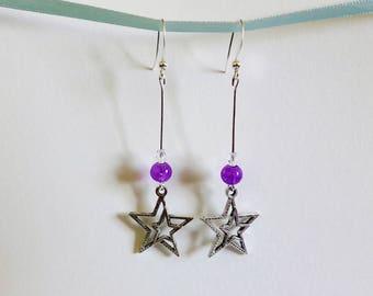 Dangling earrings star - purple bead