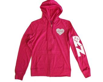Pink RN glitter heart hoodie