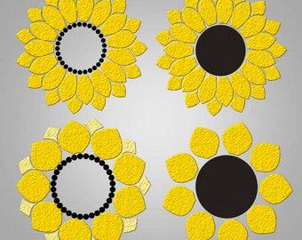 Sunflower svg Sunflower Monogram svg files flower monogram svg cricut cut files silhouette cutting files
