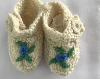 Handmade Infant Wool Slipper Socks