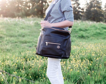 Convertible Backpack Diaper Bag/Messenger Bag - Black