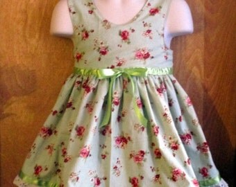 Hand Made Shabby Chic Green Dress - Size 18 Months