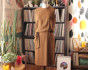 vintage 60s cocktail dress in mocha light brown . 1960s blouson dress by Mancini of California . APPROX womens small medium bloused dress