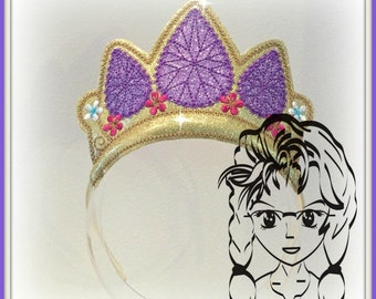 PURPLE Gem DiAMOND Long Hair PRiNCESS CRoWN ~ Inspired Character ITH Headband ~ INSTaNT Machine Embroidery Download Design by Carrie