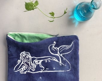 Mermaid pouch handdyed, hand screen printed, hand sewn with pure joy