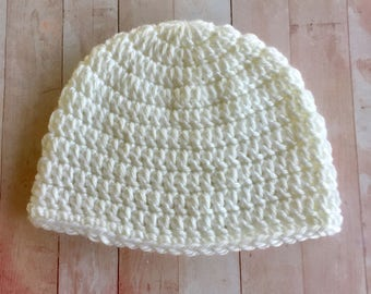 White Baby Hat ,  Pick a Size  0 to 18 month, boy or girl baby hat,   baby gift Crochet  baby beanie, infant hat,