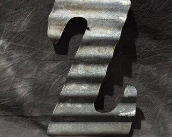 Z - Recycled Antique Roofing Tin Letter by JunkFX