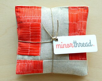 Organic Lavender Sachets in Patchwork Linen and Orange Set of 2 Scented Drawer Sachets