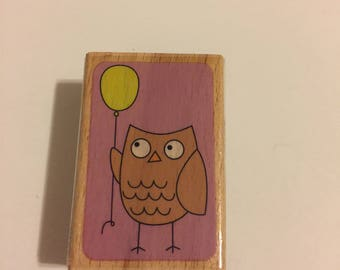 Owl Wooden Rubber Stamp