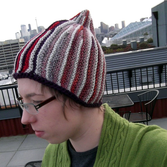 Short Row Knitting Patterns : Discord Sideway Short Row Hat Knitting Pattern