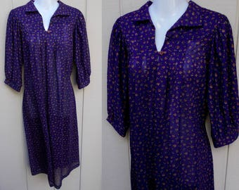 Vintage 70s Purple Floral Smock Midi Dress by Jimmy Los Angeles // size Med
