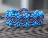 REDUCED. Micro-Macrame Beaded Bracelet. Blue Beaded Bracelet. Macrame Jewelry. Tie On Bracelet. Adjustable Beaded Bracelet. Statement Piece.