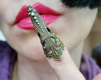SUPER SALE BUY one Get one Free Filigree nail ring in Antique Gold plate claw Tip armor ring limited time only