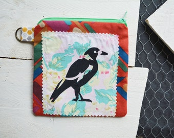 Red Pink Magpie Screen printed Small Zipper Bag. Zipper Pouch. Key Chain. Credit Card Change Wallet Holder. One of a kind Gift.
