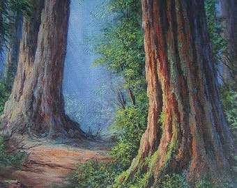 Sentinels in time, Mystic Redwood Forest, Fine Art Giclee, FINE ART PRINT,  print with artist brushwork in oils