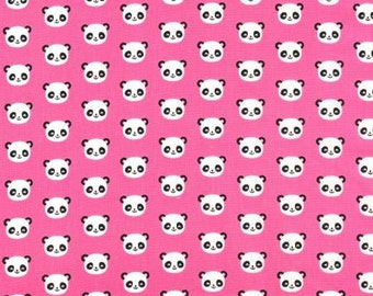 One yard Pink Panda Heads - Robert Kaufman, Ann Kelle Urban Zoologie cotton quilt fabric