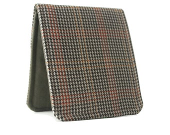 Mens Minimalist Wallet / Vintage Brown Houndstooth Wool / OhSoRetro Super Skinny Billfold