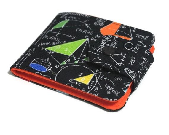 Womens Geeky Math BiFold Wallet / Slimfold Minimalist Wallet / Vegan Billfold