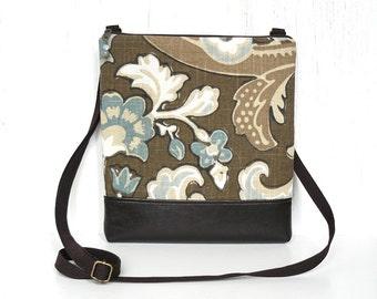 Crossbody Bag, Zipper Cross Body Purse, Small Hip Purse - Vintage Garden Floral in Aqua, Cream and Nut Brown