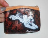 Fox Terrier Dog Hand Painted Leather Coin Purse Mini wallet vegan