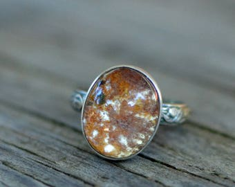 moss ring - size US 7 1/2  - lodolite and sterling silver