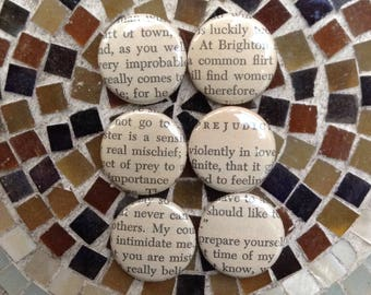 Pride and Prejudice Button Set / Flirty Buttons / Romance/Jane Austen Buttons / Humor/ Book Lover Gift  / Bookish Gift