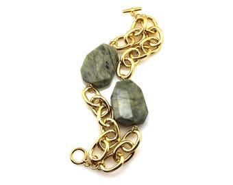 SALE Gold Bracelet, Green Jasper Bracelet, Green Statement Bracelet, Green Bracelet, Green Jasper Jewelry, Jasper Jewelry, Jasper Bracelet