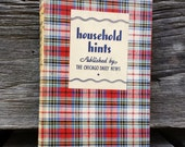 Household Hints - Vintage 1933 Book from Chicago Daily News - plaid cover!
