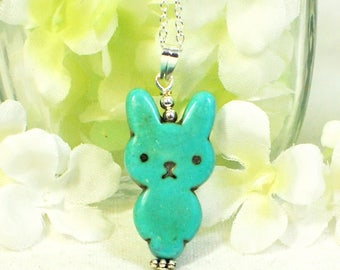 Kawaii Rabbit Necklace Bluey - Blue Bunny Rabbit - Bunny Necklace - Bunny Pendant -Rabbit Jewelry -Bunny Jewelry -Easter Necklace -Pet Bunny