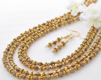 Gold Bronze Necklace Set - Bronze 88 Inch Long Necklace Set - Bronze Jewelry