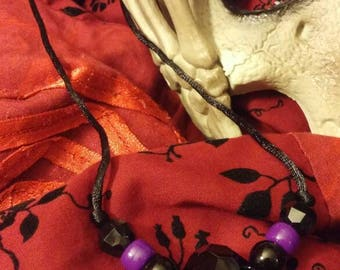 Black Glass Faceted Bead with Purple Accent Beads