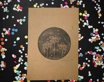 Flower and leaves print - flower art print - blockprinting coneflowers original art - black handprinted artwork