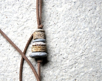 Beach Stone and Crinoid Stem Cairn Necklace - Cairn Necklace - Rock Cairn Necklace - Fossil Necklace - Beach Pebble Necklace