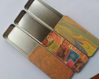 Trio of long thin tins. . . Stamps, Swirls, and Flourishes