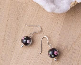 Floral Earrings - black flower lampwork glass sterling silver earrings | Round bead earrings | Lampwork jewellery | Floral lampwork jewelry