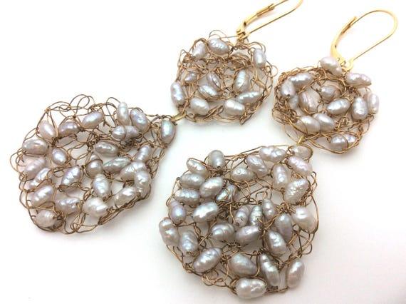 Crocheted bronze and pearl earrings