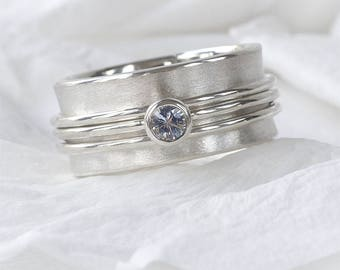 White Sapphire Spinning Ring | Eco Sterling Silver | Handmade in the UK