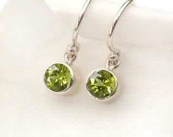 August Birthstone Earrings   Peridot   Sterling Silver   Handmade in the UK