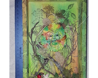 Greenman Mixed Media Shadow box Kitten not included